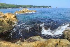 海scape、岩石和波浪 免版税图库摄影