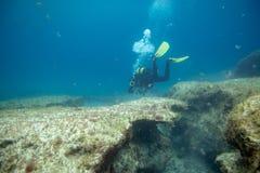 浸没的潜水者在礁石附近 免版税库存照片