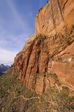浸泡一个红色岩石峡谷的足迹 库存图片