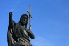 浸礼会约翰・布拉格圣徒雕象 库存照片