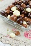 涂了巧克力的坚果和葡萄干 免版税图库摄影