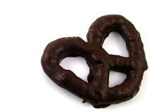 涂了巧克力的椒盐脆饼 免版税库存图片