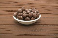 涂了巧克力的葡萄干碗褐色背景 库存照片