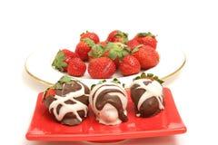 涂了巧克力的strawberrys 图库摄影