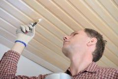 涂清漆一块木天花板 免版税库存图片