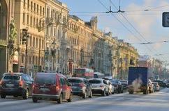 涅夫斯基Prospekt在冬天 免版税库存照片