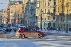 涅夫斯基Prospekt在冬天 免版税库存图片