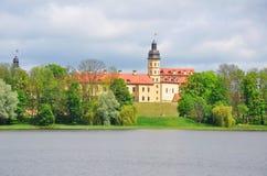 涅斯维日城堡和城堡池塘 迟来的 免版税图库摄影