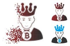 消失的映象点半音Bitcoin国王Icon 库存例证