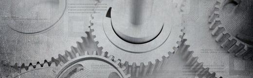 消弱的嵌齿轮转动与计算机technologic电路的横幅 免版税图库摄影