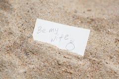 消息是我的沙子的妻子 库存图片