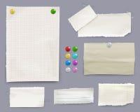 消息笔记和纸别针传染媒介例证 库存例证