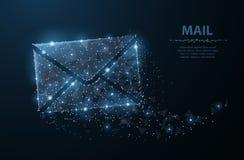 消息 与小点和星的多角形wireframe滤网 邮件、信件、电子邮件或者其他概念例证或者背景 图库摄影