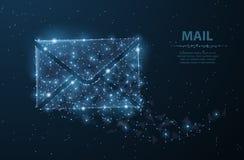 消息 与小点和星的多角形wireframe滤网 邮件、信件、电子邮件或者其他概念例证或者背景 库存照片