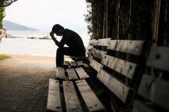 消沉,青少年的消沉,痛苦,痛苦,隧道 库存图片