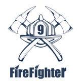 消火商标 在面具的消防员` s头 皇族释放例证