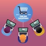消费者从网上购物与膝上型计算机,电子商务概念,顶视图的购买产品 免版税库存图片