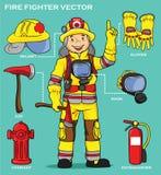 消防员和设备介绍 库存照片