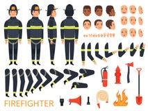 消防员字符 消防队员身体局部和特别制服有专业工具的与灭火器铁锹交战 库存例证