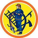 消防员消防队员灭火水龙带梯子圈子 免版税库存照片