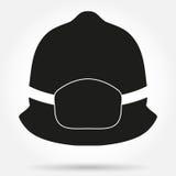 消防员盔甲传染媒介的剪影标志 免版税库存图片