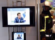 消防员medvedev总统俄语 免版税库存图片