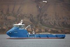 消防和打捞船'Polarsyssel'当班在卑尔根群岛 库存图片