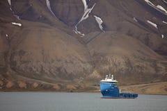 消防和打捞船'Polarsyssel'当班在卑尔根群岛 免版税库存图片