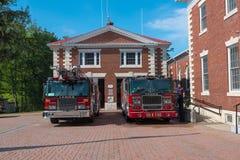 消防车在伦诺克斯MA 免版税库存图片