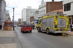 消防车在蓬塔阿雷纳斯,智利 库存图片