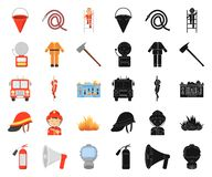 消防队动画片,在集合收藏的黑象的设计 消防队员和设备传染媒介标志股票网 向量例证