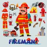 消防队员与和第一种帮助设备 字符设计 冷杉 免版税图库摄影