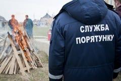 消防队员和教士 免版税库存照片
