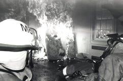 消防队员实践 免版税库存照片