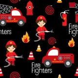 消防队员无缝的样式 库存照片