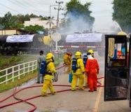 消防队员火车梭 库存照片