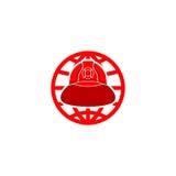 消防队员盔甲商标 库存照片