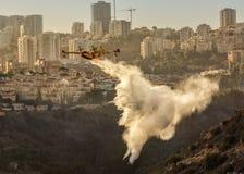 消防队员飞机驯服火 免版税库存照片
