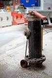 消防龙头喷洒的水 免版税库存照片