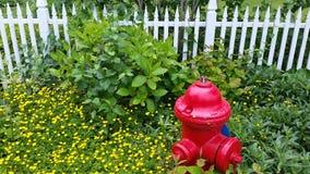 消防龙头在与白色尖桩篱栅的花床上 免版税库存照片