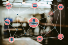 消费者中心营销概念 零售Conce的Omni海峡 免版税库存图片