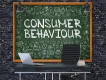 消费者行为-手拉在绿色黑板 3d 免版税图库摄影