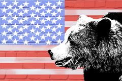 涉及美国国旗的背景在砖墙上的 图库摄影