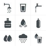 水涉及被设置的图标 免版税库存图片