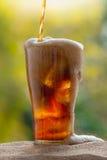 涌入与冰块的玻璃的可乐水在沙子 库存图片