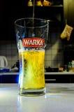 涌入在被弄脏的厨房的玻璃的啤酒 库存图片