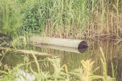 涌出从下水道的水到湖/生态概念:从水管的废水流量到湖里 免版税库存图片