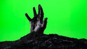 涌现从地面坟墓的蛇神手 日历概念日期冷面万圣节愉快的藏品微型收割机说大镰刀身分 绿色屏幕 012 影视素材