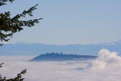 涌现从雾的史丹利公园 免版税库存照片