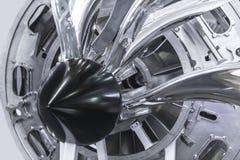 涡轮发动机 航空技术 航空器在博览会的喷气机引擎细节 被定调子的蓝色 免版税库存照片